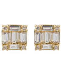 SHAY - Yellow And Gold Studded 18kt Diamond Square Stacked Baguette Stud Earrings - Lyst
