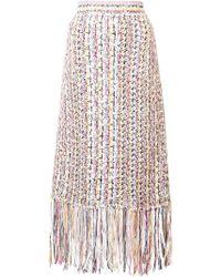 Adam Lippes - Tweed Fringed Skirt - Lyst