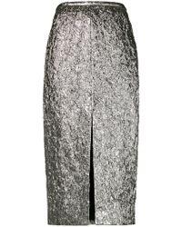 Rochas - Creased Metallic Pencil Skirt - Lyst