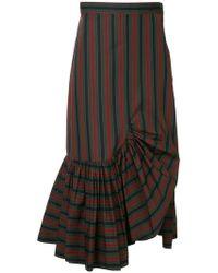 Rosetta Getty - Striped Asymmetric Skirt - Lyst