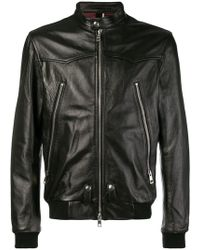 Low Brand - Front Zip Leather Jacket - Lyst