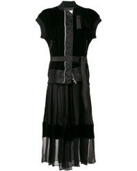 bf5ac8d384d Lyst - Sacai Pleated Shirt Dress in Black