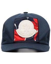 cfa4494ccd9 Moncler - Blue Logo Embroidered Applique Cotton Baseball Cap - Lyst