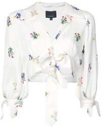 Cynthia Rowley - Tied Up Cropped Blouse - Lyst
