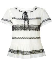 RED Valentino - Lace Insert Shortsleeved Blouse - Lyst