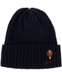 a60d1473e9c16 Gucci - Wool Hat With Pierced Heart - Lyst