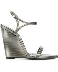 Saint Laurent - Stacked Wedge Sandals - Lyst