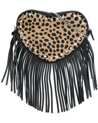 Twin Set | Fringed Leopard Print Cross-body Bag | Lyst