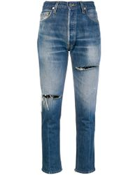 RE/DONE - Distressed Cropped Jeans - Lyst