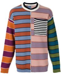 Andrea Pompilio - Chest Pocket Striped Jumper - Lyst