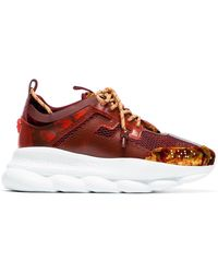 Versace - Burgundy Chain Reaction Mesh Velvet Sneakers - Lyst