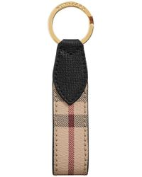 Burberry - Haymarket Check And Leather Key Ring - Lyst