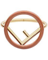 Fendi - Leather Logo Bracelet - Lyst