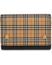 Burberry - Small Scale Check And Leather Folding Card Case - Lyst