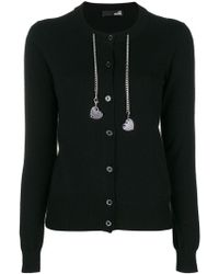 Love Moschino - Heart Charm Chain Embellished Cardigan - Lyst