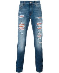 distressed slim fit jeans - Blue Alexander McQueen Uuw8qOFsT