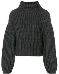 Lanvin - Ribbed Knit Gathered Sleeve Sweater - Lyst