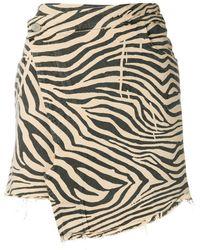 Laneus Printed Asymmetric Wrap Skirt