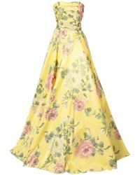 Marchesa - Floral Printed Strapless Ball Gown - Lyst