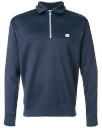AMI - Bicolor Sweatshirt With Polo Collar - Lyst