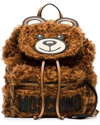 Moschino - Brown Teddy Bear Shearling Backpack - Lyst