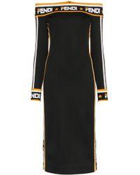 Fendi - Abito Off The Shoulder Logo Trim Midi Dress - Lyst
