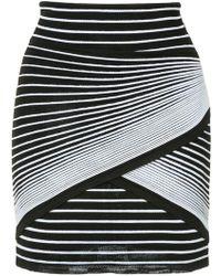 Balmain - Wrap-style Striped-knit Mini Skirt - Lyst