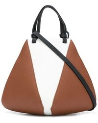 the VOLON - Bicolour Trapeze Tote - Lyst