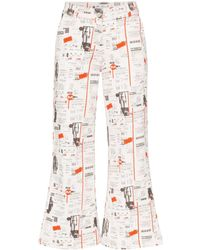 Miaou Soni Newsprint Flared Jeans - White