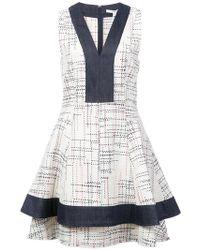 10 Crosby Derek Lam - V-neck Fit & Flare Dress With Denim Contrast - Lyst
