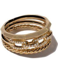 David Yurman - 18kt Yellow Gold Stax Diamond Narrow Ring - Lyst
