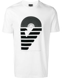 7fd05c04 Emporio Armani Embroidered Logo T-shirt in White for Men - Lyst