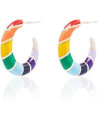 Alison Lou - Multicoloured Petite V 14k Yellow Gold Hoop Earrings - Lyst