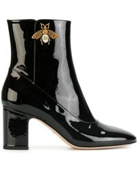 e72a467eee8 Lyst - Gucci Star And Bee Embroidered Boots in Black