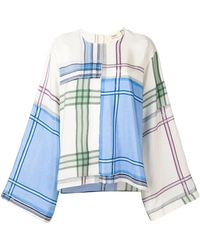 Ports 1961 Bell Sleeves Checked Blouse