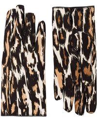 Raf Simons Leopard Print Gloves - Brown