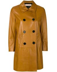 Marni - Leather Pea Coat - Lyst