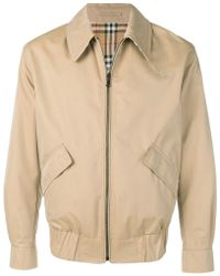 Burberry - Reversible Gabardine And Check Harrington Jacket - Lyst