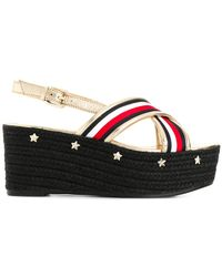 Tommy Hilfiger - Star Embossed Flatform Sandals - Lyst