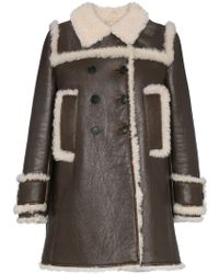 75c0f6863293 Miu Miu - Shearling Trimmed Leather Coat - Lyst