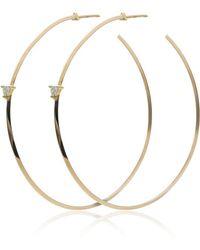 Lizzie Mandler - Yellow Gold Diamond Hoop Earrings - Lyst
