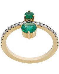Jemma Wynne - Double Emeralds Ring - Lyst