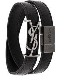 Saint Laurent - Logo Plaque Strap Bracelet - Lyst