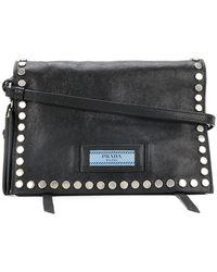 383a6b0c6195 Prada - Etiquette Studded Shoulder Bag - Lyst