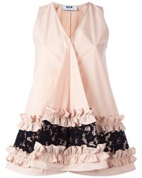 MSGM - Ruffle & Lace Detail Sleeveless Top - Lyst