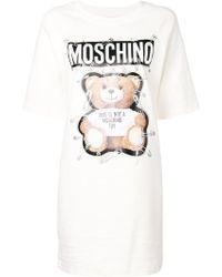 3069b3a7 Moschino Teddy Bear Print Oversized Dress in White - Lyst