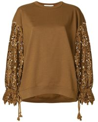 See By Chloé | Laser Cut Sleeve Sweatshirt | Lyst