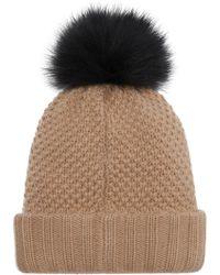 3242a8bf80a Burberry Fur Pom-Pom Wool Cashmere Beanie Hat in Black - Lyst