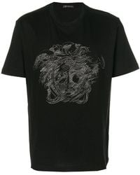 Versace - Embroidered Medusa T-shirt - Lyst