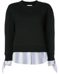 10 Crosby Derek Lam | Long Sleeve Sweatshirt With Shirting Tie Detail | Lyst